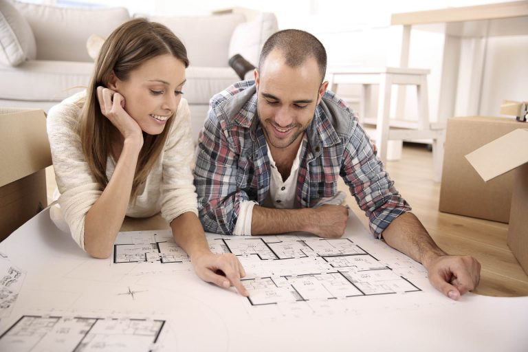 Family with floor plan