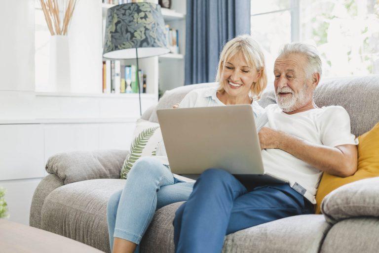 Seniors at a laptop